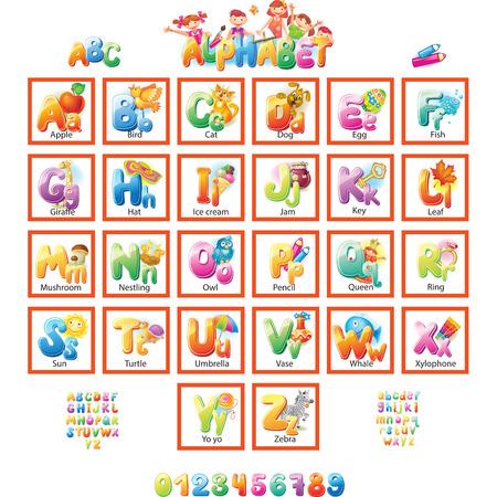 lettre alphabet: Alphabet avec photos pour les enfants Illustration