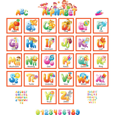 english alphabet: Alphabet with pictures for children