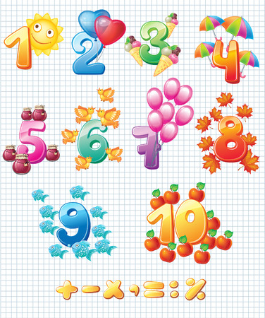 10 number: Colorful numbers for children Illustration