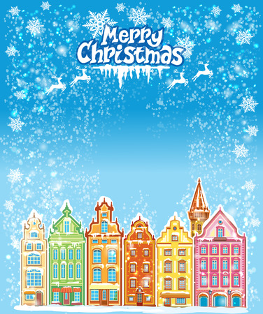 old town: Christmas and New Year holidays card with snowy old town