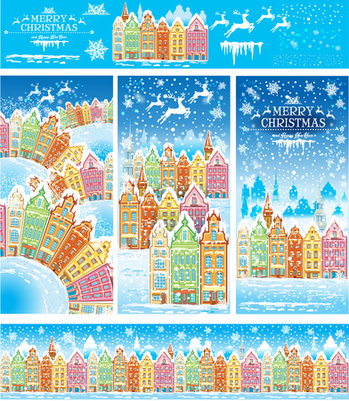 retro backgrounds: Christmas cards of a snowy old town with illustration elements and pattern brush