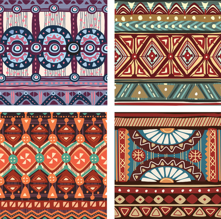 Color seamless tribal texture Illustration