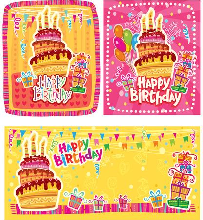 Set of Happy Birthday cards Vector