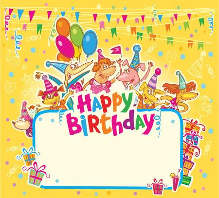 Happy birthday card Vettoriali