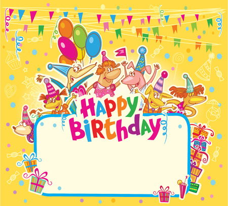 birthday cartoon: Happy birthday card Illustration