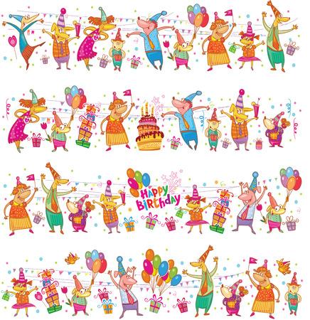 pasteles de cumplea�os: Feliz cumplea�os frontera de dibujos animados