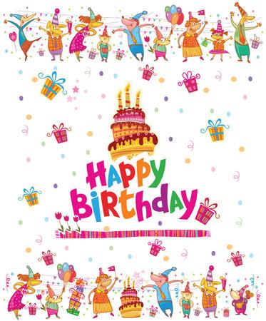 ケーキと誕生日カード デザインします。  イラスト・ベクター素材
