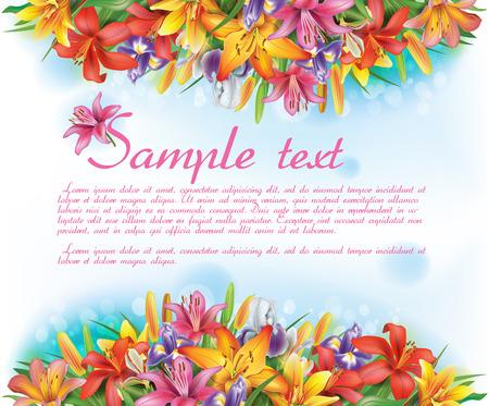 Kaart met bloemen Vector Illustratie