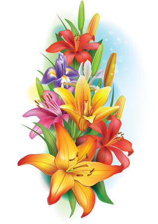 Garland van lelies en irissen bloemen