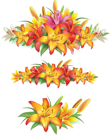 lei: Garlands of yellow lilies Illustration