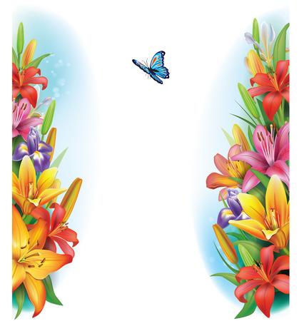 Grens van bloemen Vector Illustratie