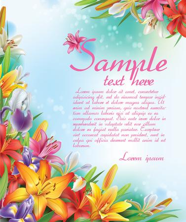 Achtergrond van lelies en irissen bloemen Vector Illustratie
