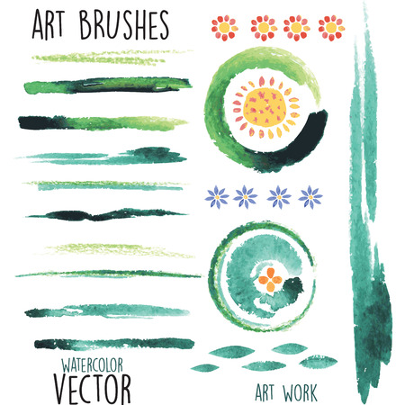 hand torn: Vector watercolor green brushes and floral elements