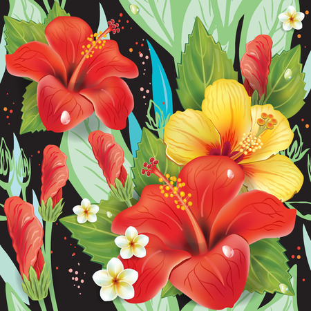 stamen: Seamless floral pattern with hibiscus on black
