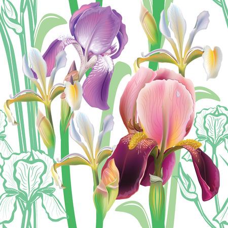 irises: Seamless floral pattern with irises