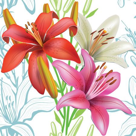 ユリとシームレス花柄