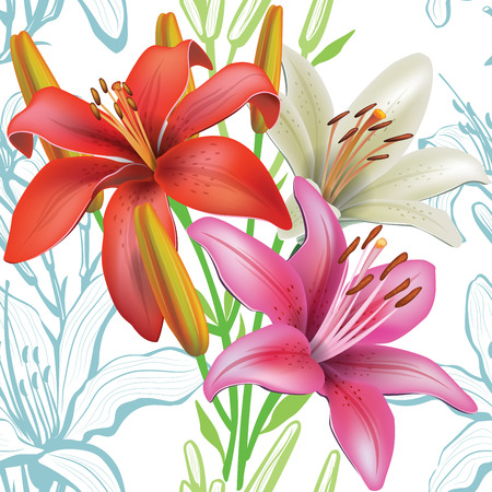 flower arrangement: Seamless floral pattern with lilies Illustration