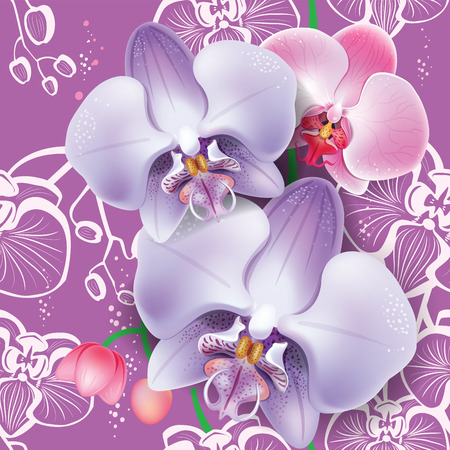 budding: Seamless floral pattern with pink orchid