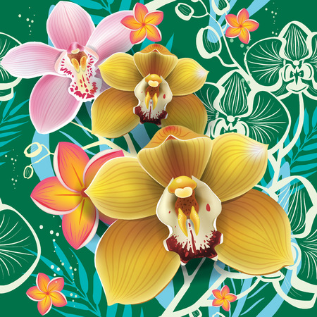 stamen: Seamless floral pattern with orchid on green