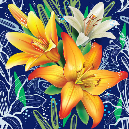 stamen: Seamless floral pattern with lilies Illustration