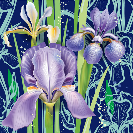 stamen: Seamless floral pattern with irises