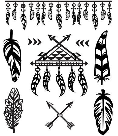 tribales: Plumas tribales y elementos decorativos