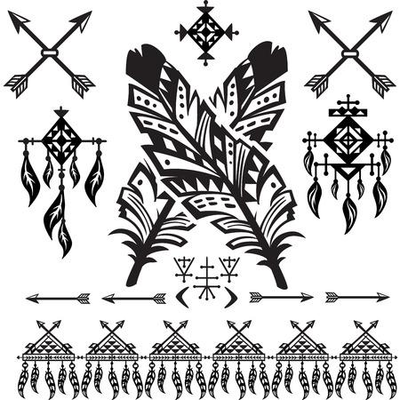 decorative elements: Tribal Feathers and decorative elements Illustration