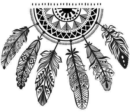atrapasueños: Dreamcatcher decoración en estilo tribu Vectores
