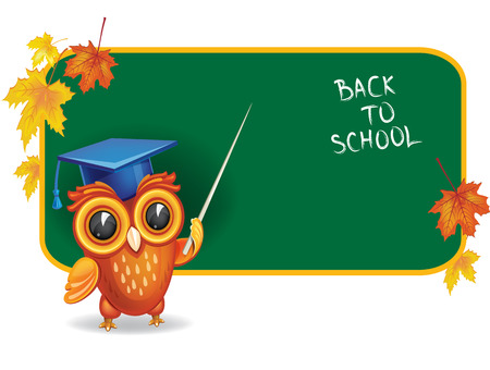 researcher: Owl in graduation cap in front of school chalk board