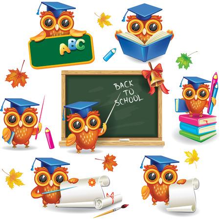 escuela caricatura: Conjunto de búhos sabios en las tapas de graduación