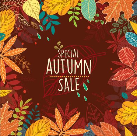 Autumn special sale poster with leaves Illustration