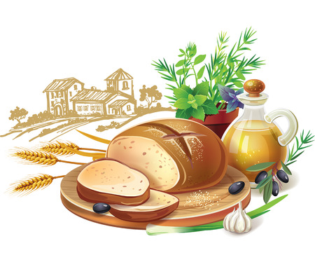 wheat bread: Rustic bread and wheat ears against country landscape