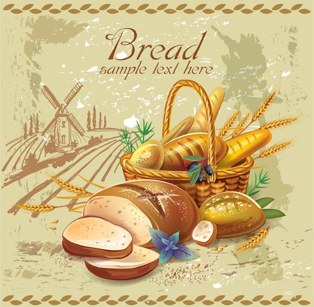 Breads in basket against country landscape