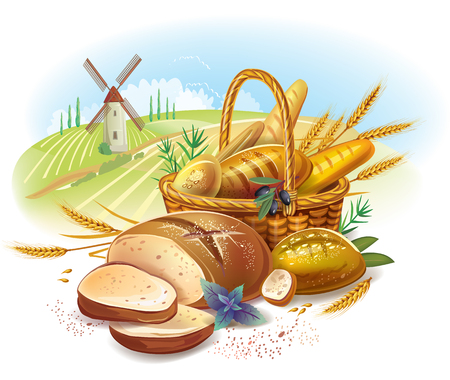 baking bread: Breads in basket against country landscape
