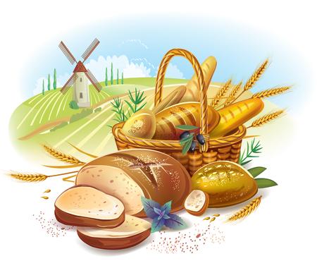tranches de pain: Pains dans le panier contre paysage de campagne Illustration