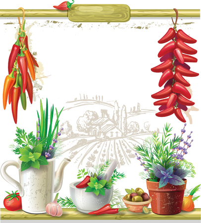 country farms: Strings of peppers and country Still life Illustration