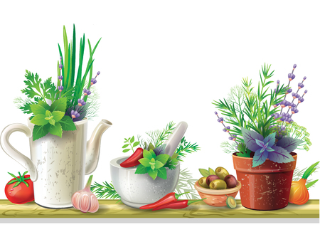 Still life with garden herbs