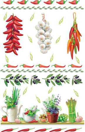 vegetable gardening: Set of Food borders