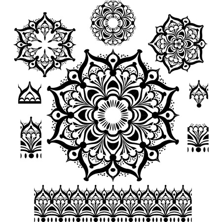 mandala flower: Round Ornament Pattern with pattern brush