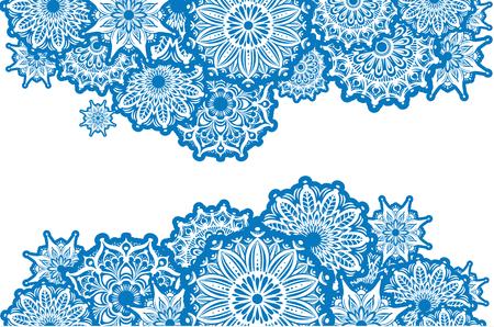 horizontal: Horizontal Border of white round ornaments Illustration