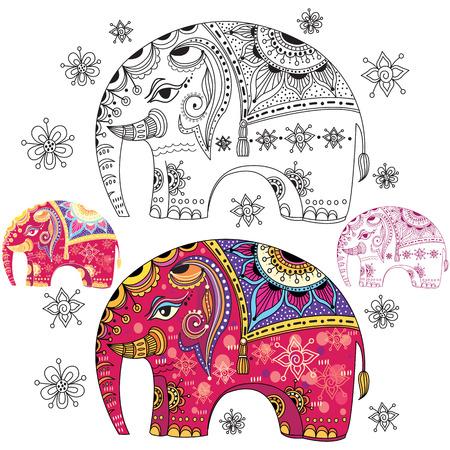 Set of abstract decorative elephants