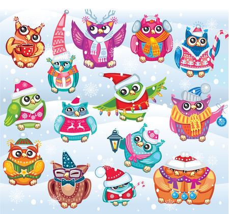 pajaro caricatura: Conjunto de lindos búhos Navidad Vectores