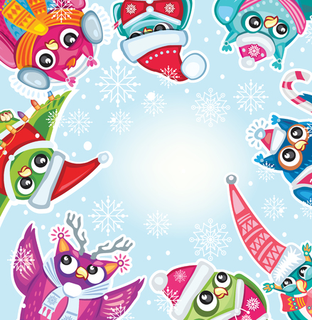 night owl: Merry Christmas card with Cute Owls Illustration