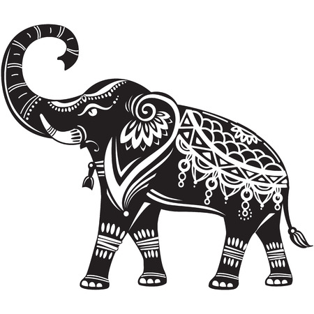 siluetas de elefantes: elefante decorado estilizada Vectores
