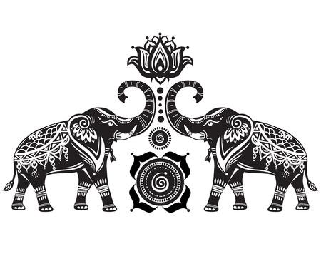 Stylized decorated elephants and lotus flower