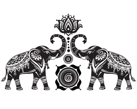 muladhara: Stylized decorated elephants and lotus flower