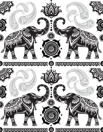 siluetas de elefantes: Modelo inconsútil con los elefantes decorados Vectores