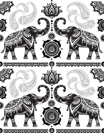 Seamless pattern with decorated elephants Vettoriali