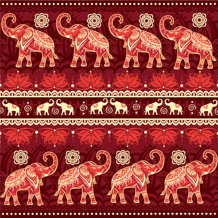 border silhouette: Seamless pattern with elephants