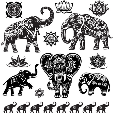 Set of decorated elephants Vectores